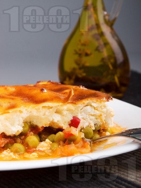 Гювеч със сирене и грах на фурна - снимка на рецептата